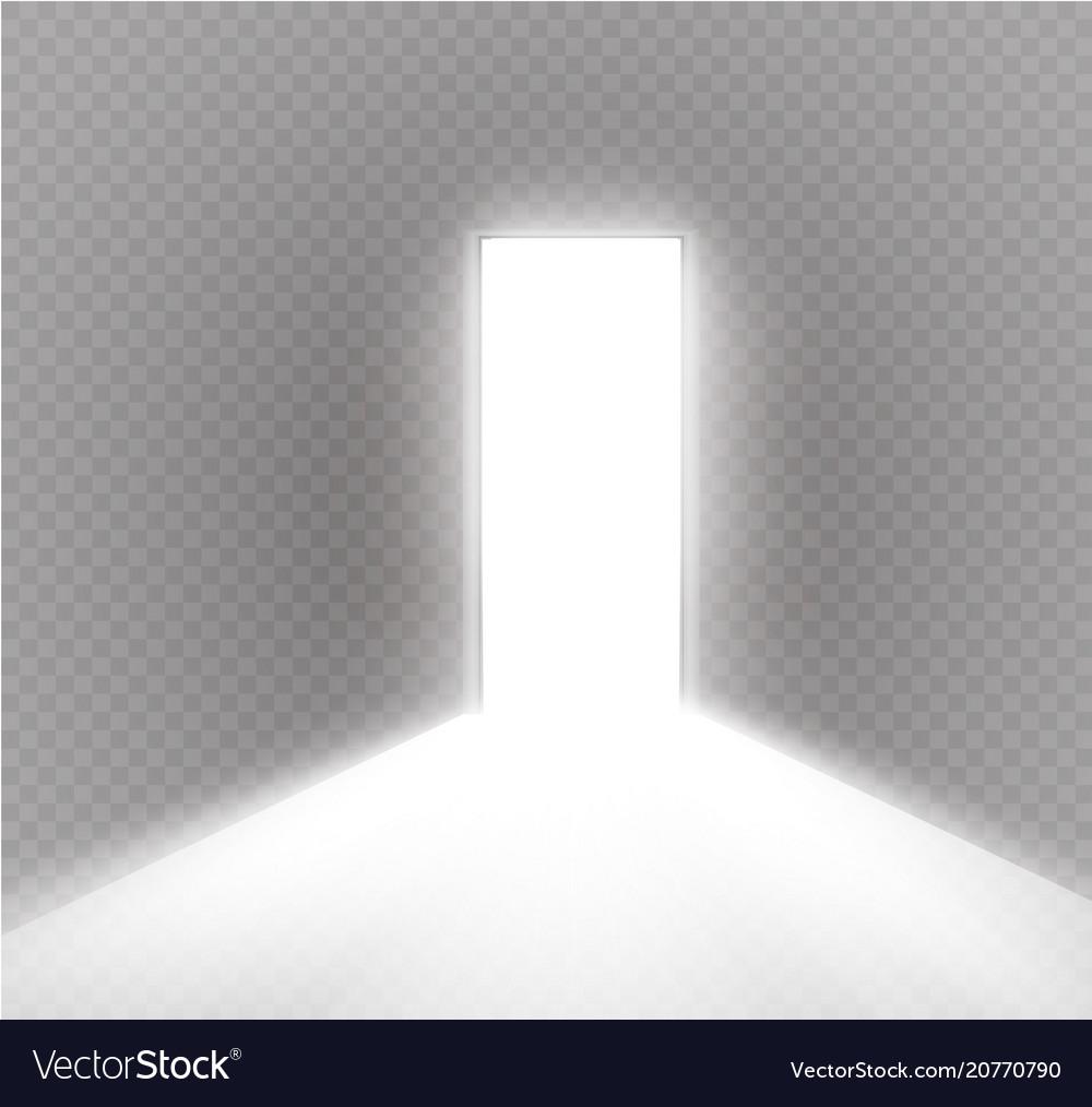 Open Door Dark Room On Open The Door In Dark Room With Light Passing Vector Image
