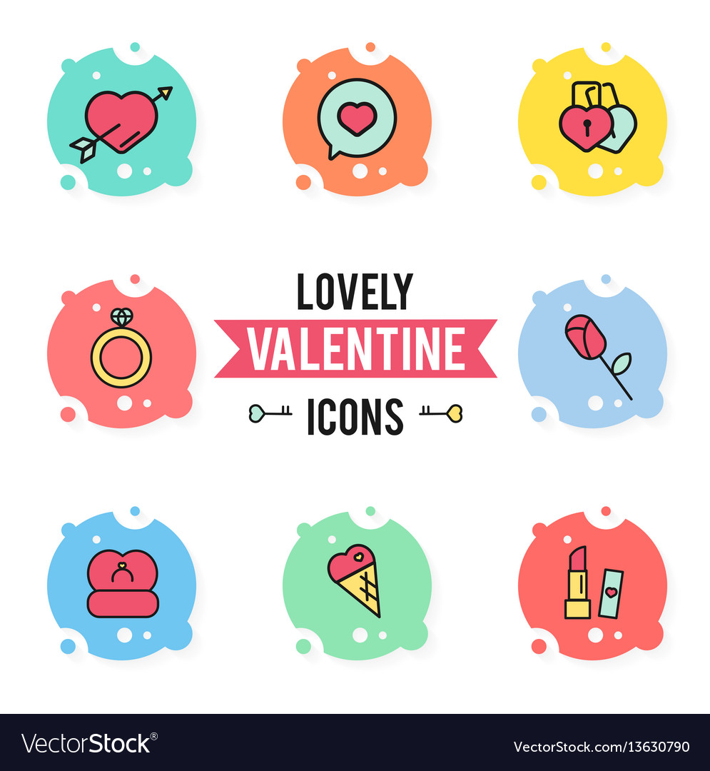 Set valentines day objects and icon