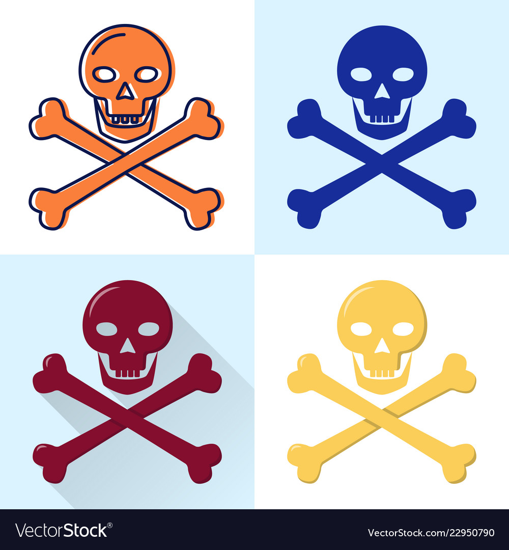 Skull and crossbones icon set in flat and line