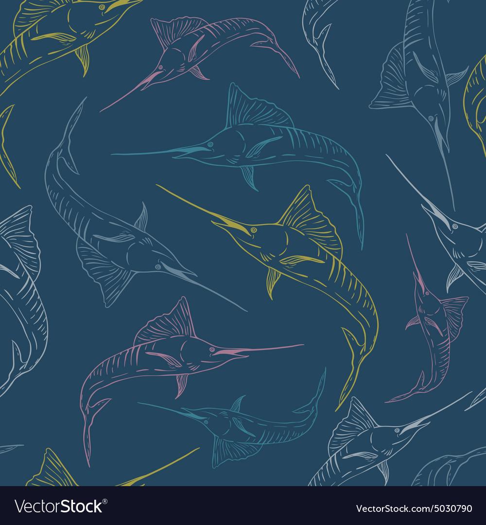 Swordfish seamless pattern vector image