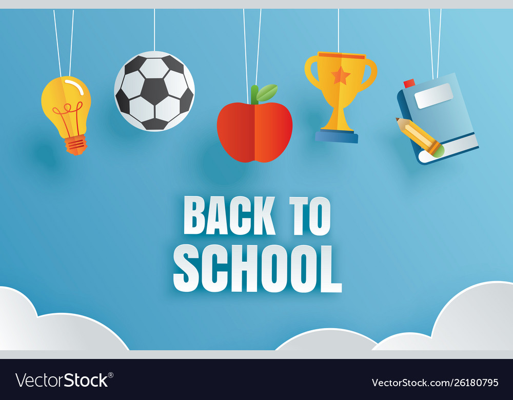 Back to school banner with education items