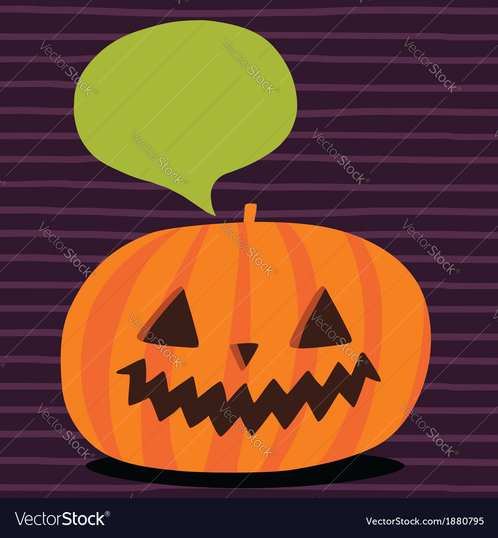 cute funny halloween pumpkin with bubble speech vector image