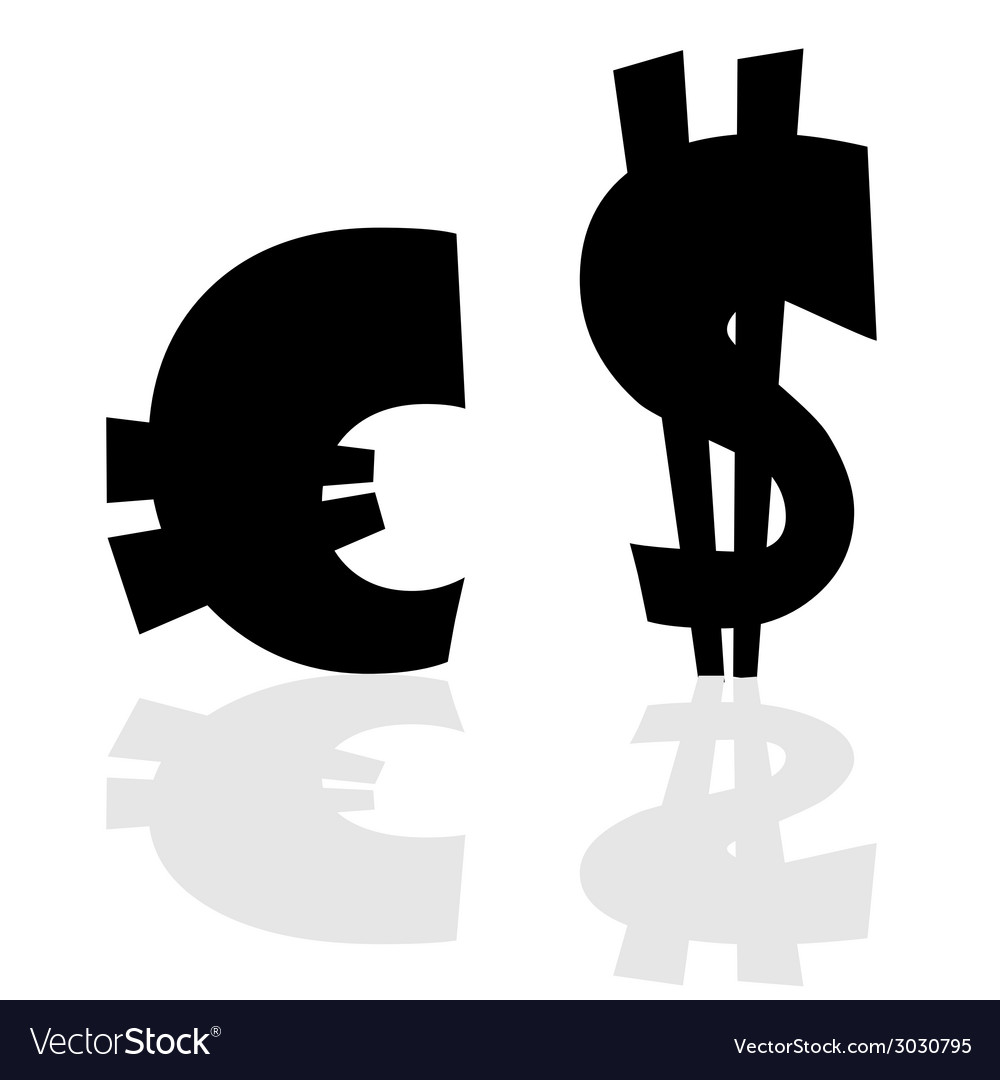 Euro And Dollar Symbol In Black Color Vector Image
