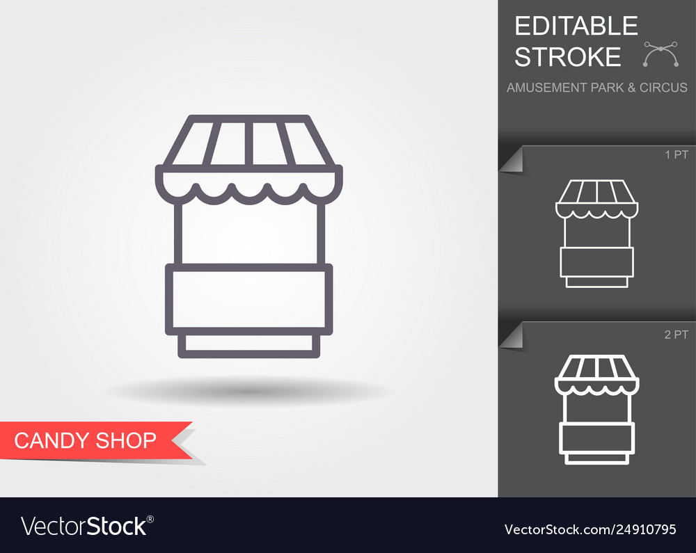 Food kiosk line icon with editable stroke with