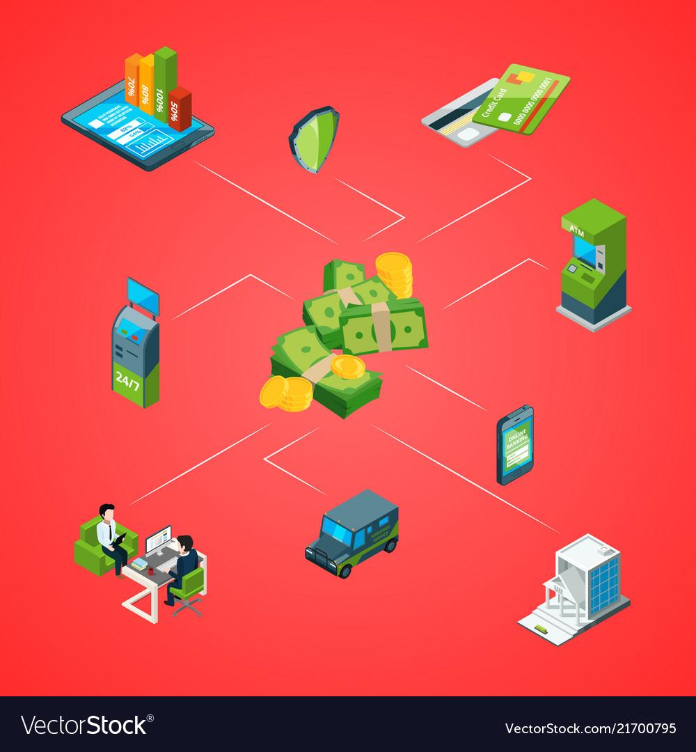 Isometric money flow in bank infographic