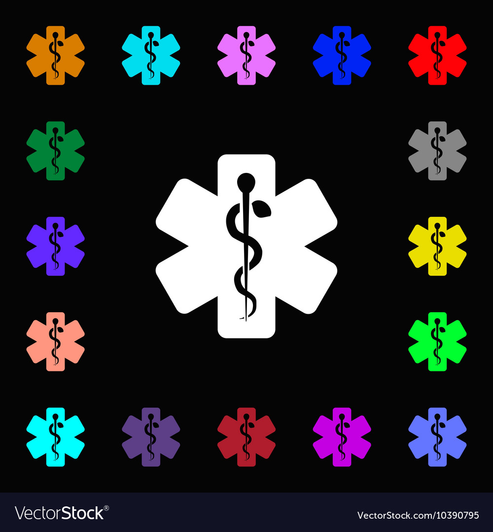 Medicine icon sign Lots of colorful symbols for