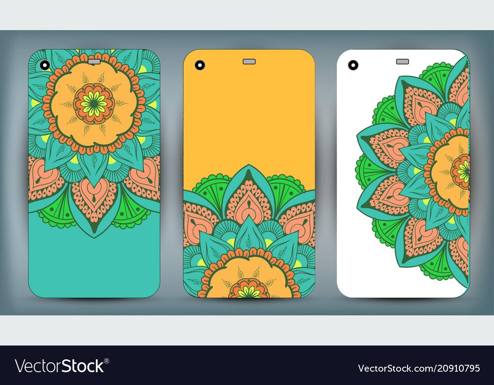 Phone case mandala design set vintage decorative vector image