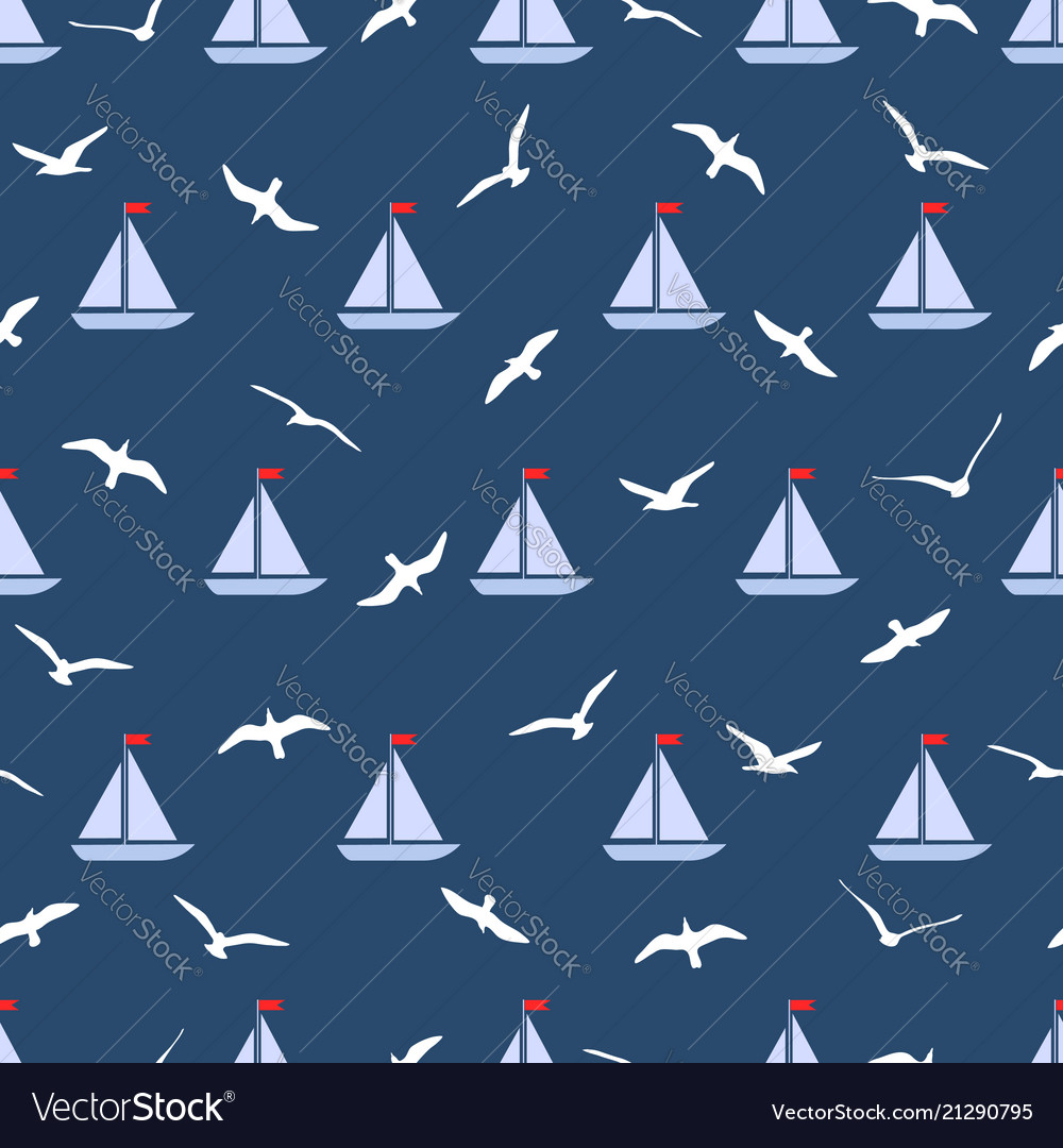 Seamless pattern with gulls and ships