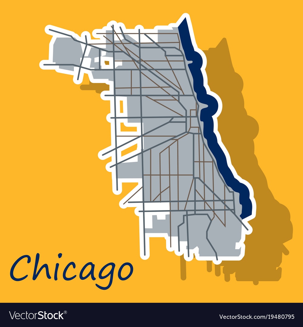 Sticker map chicago city illinois roads Royalty Free Vector on
