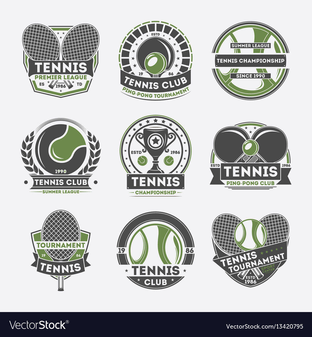 Tennis club vintage isolated label set