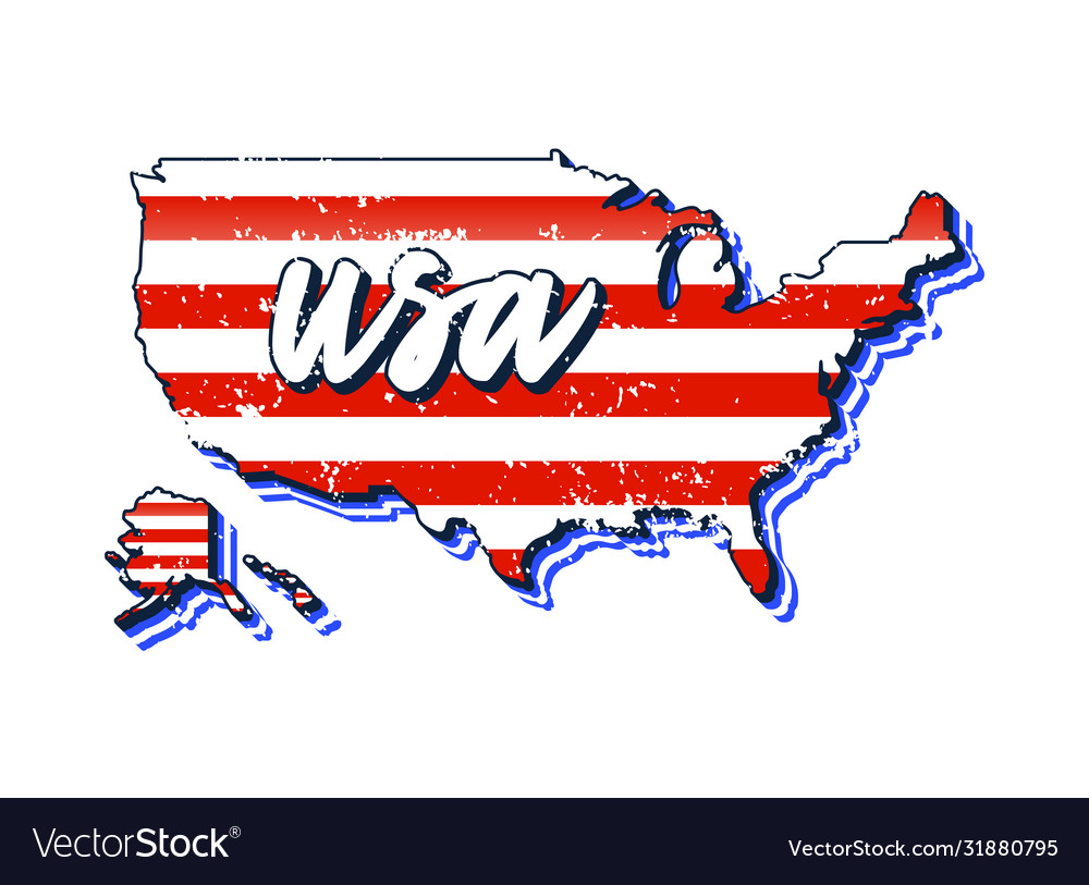 Us map with flag texture typography hand drawn