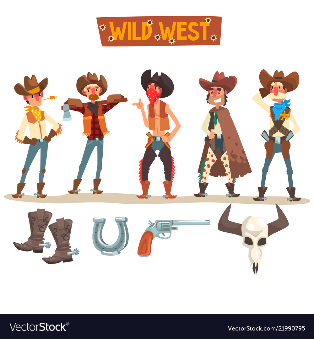Western cowboys set wild west people vector