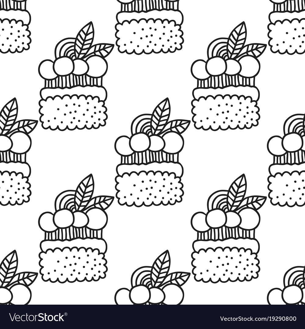 Cakes And Cupcakes Black White Seamless Vector Image