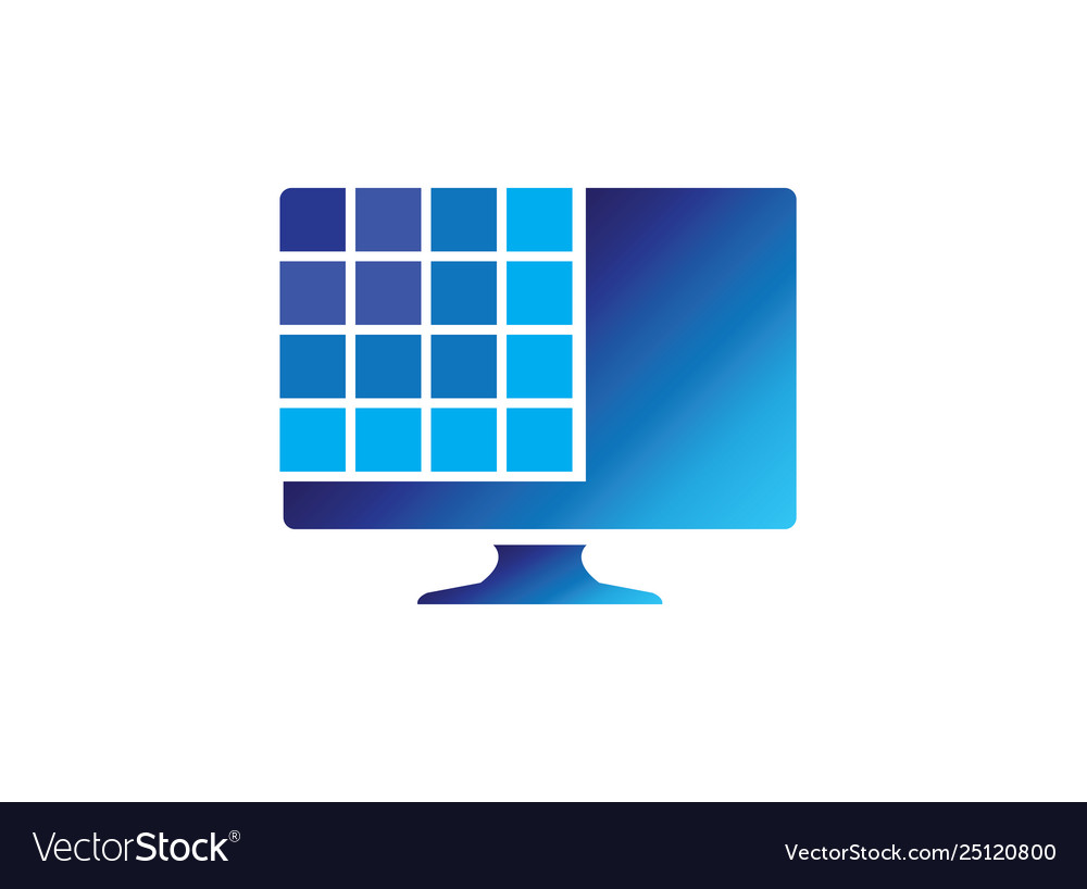 Digital screen with squares for logo design