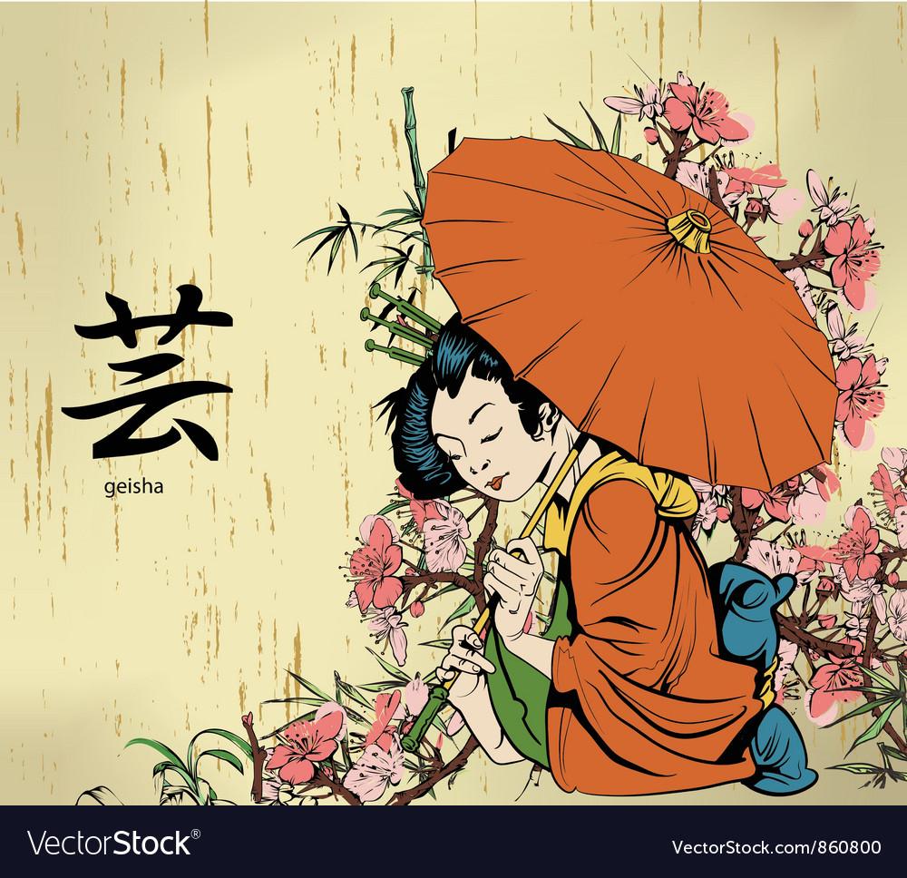 Geisha with floral