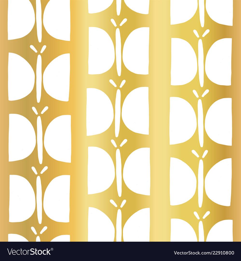 Gold foil butterfly seamless pattern