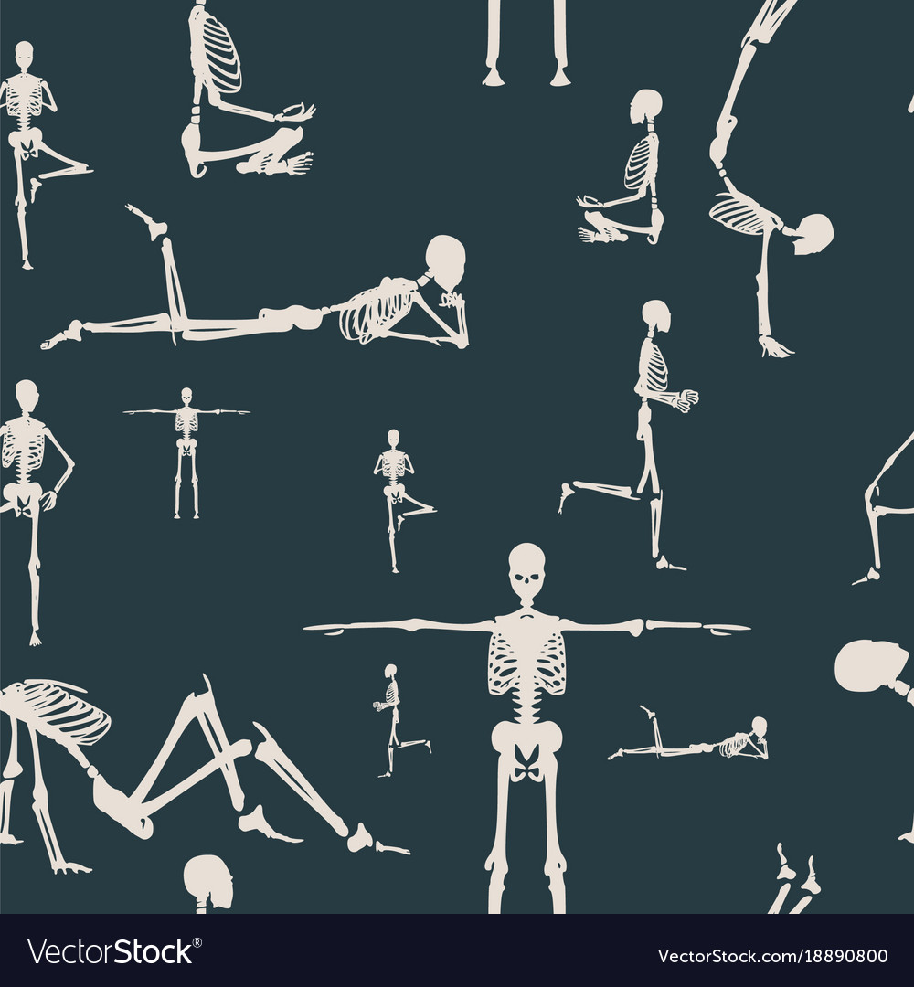 Halloween human skeleton seamless background vector image