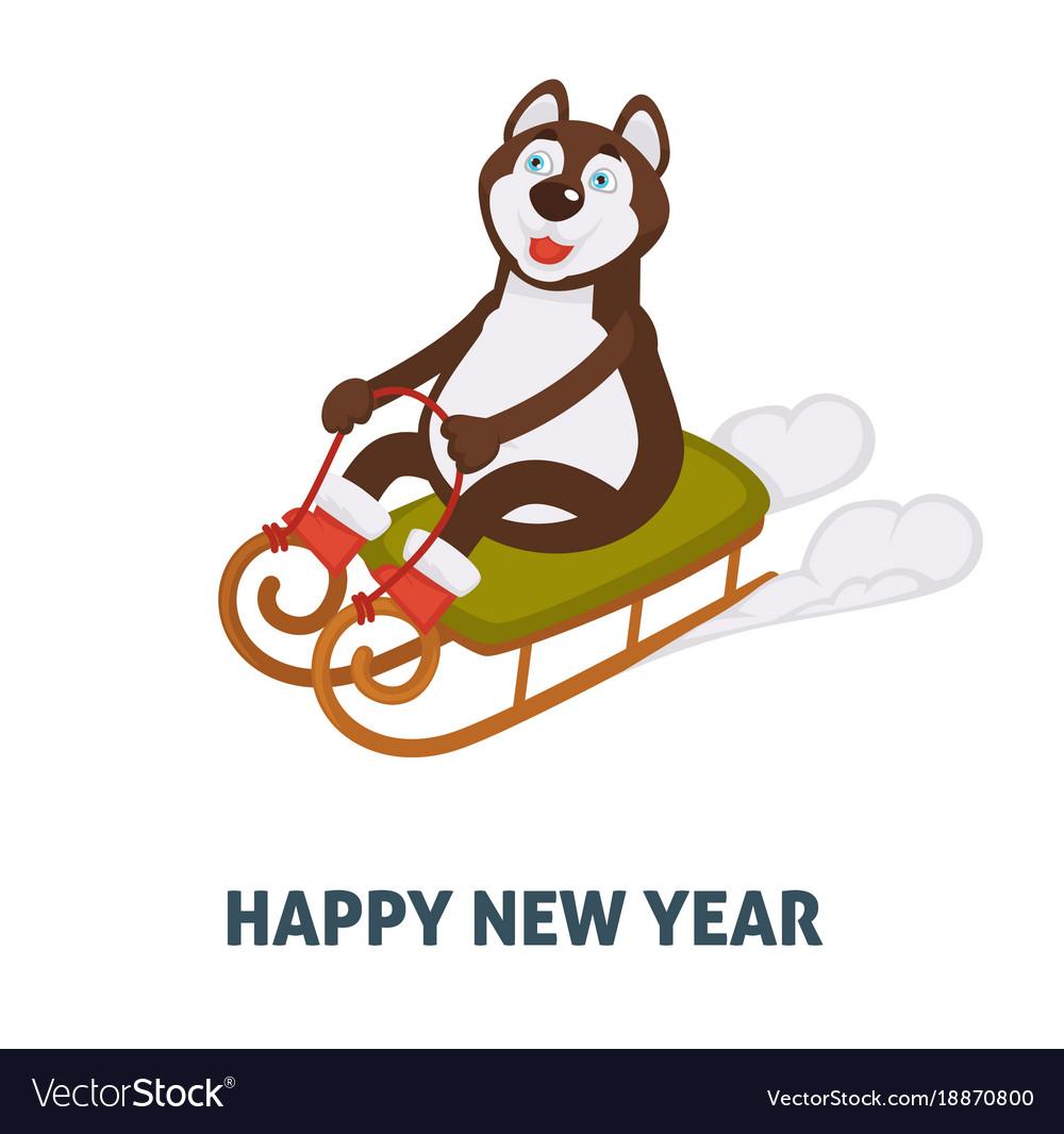 happy new year 2018 dog cartoon in santa sleigh vector image