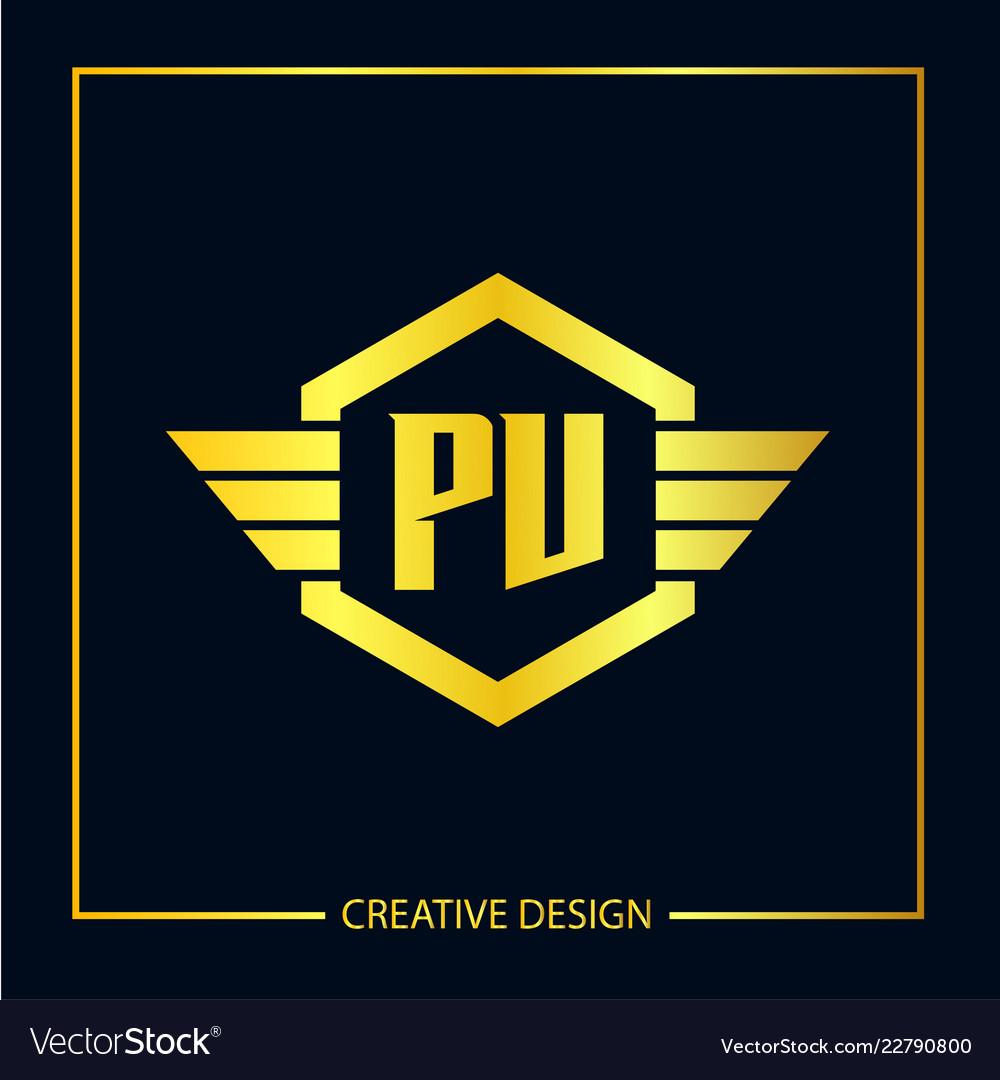 Initial letter pv logo template design