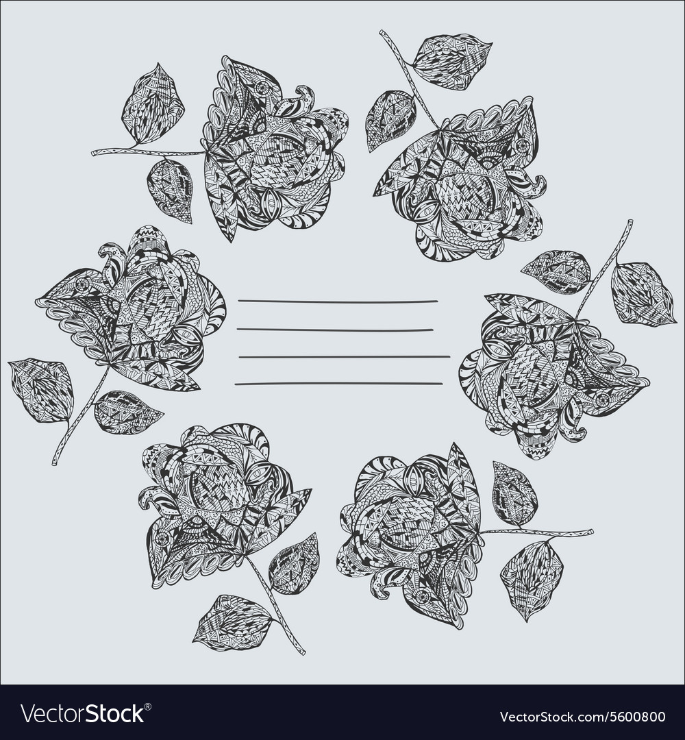 Notepad Cover With Hand Drawn Black Flowers Vector Image