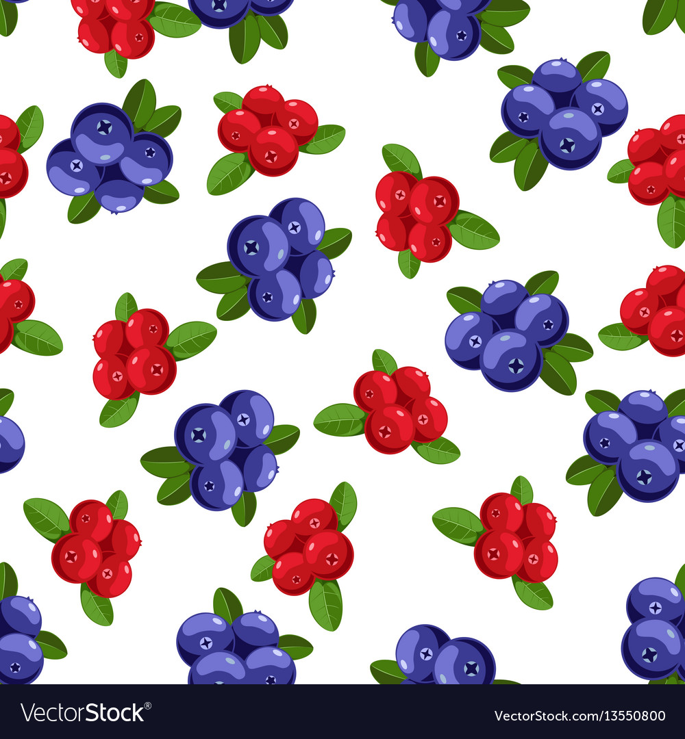 Seamless pattern with cartoon blueberries