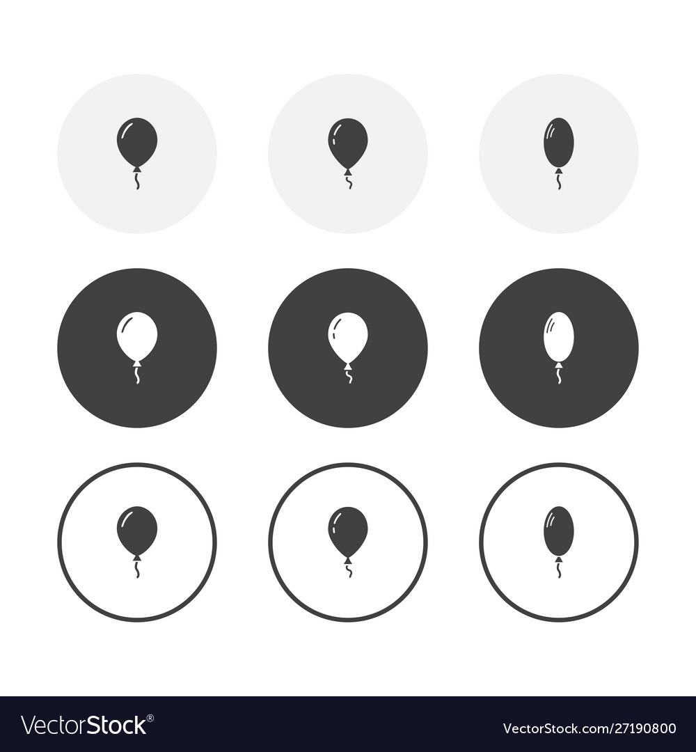 Set 3 simple design balloon icons rounded