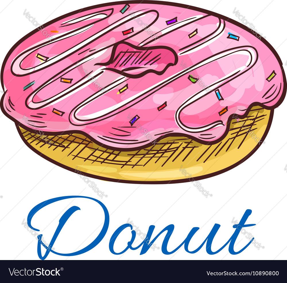 Sweet glazed donut with sprinkles sketch