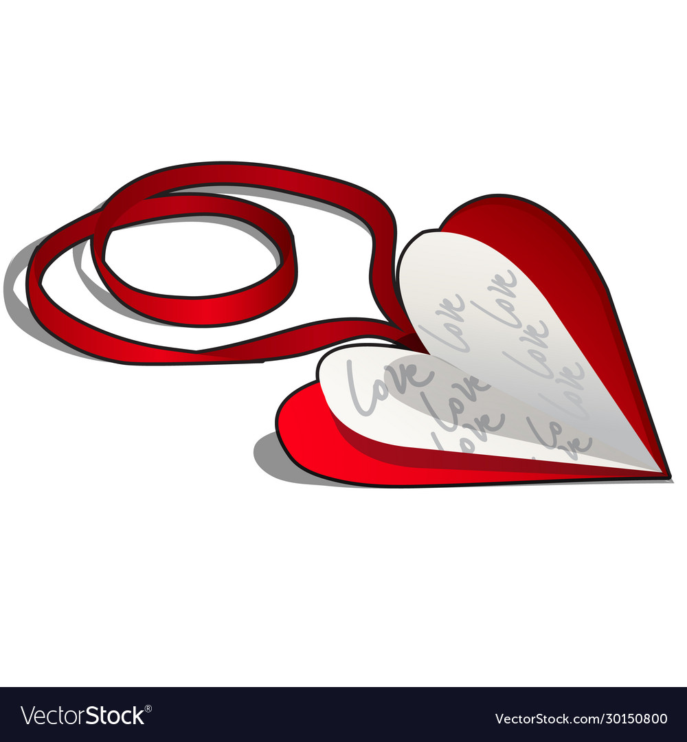 Valentine day card on a red ribbon isolated