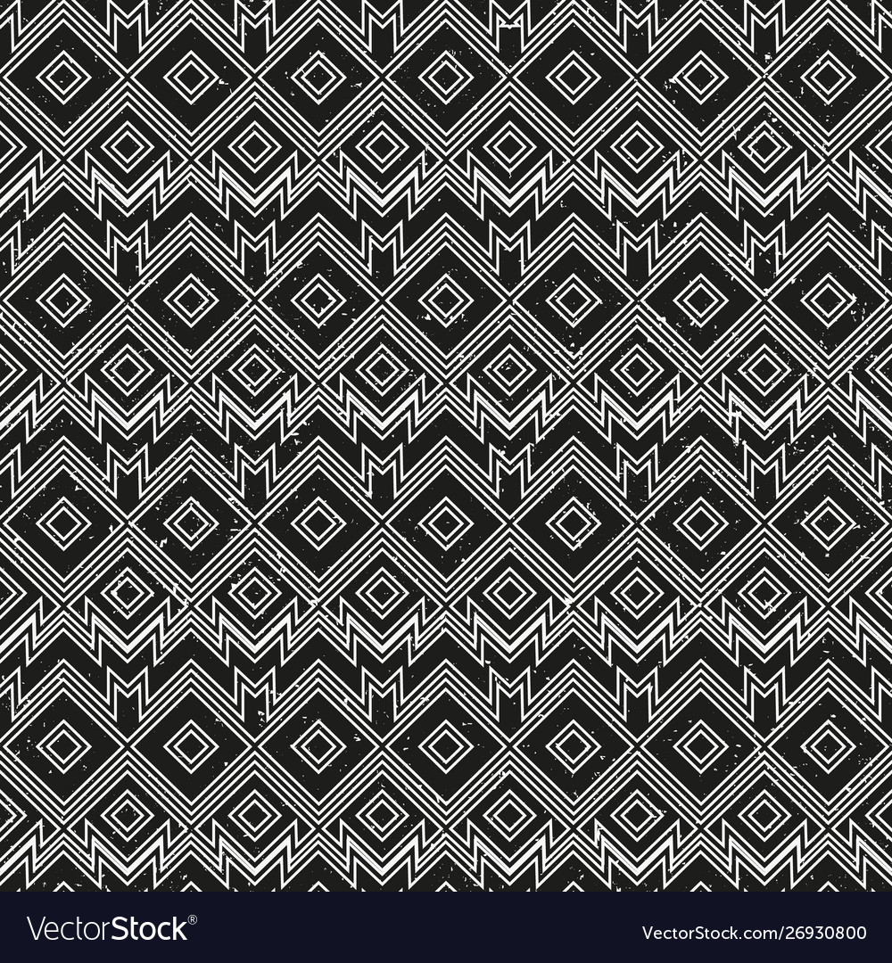 Vintage monochrome geometric pattern with grunge