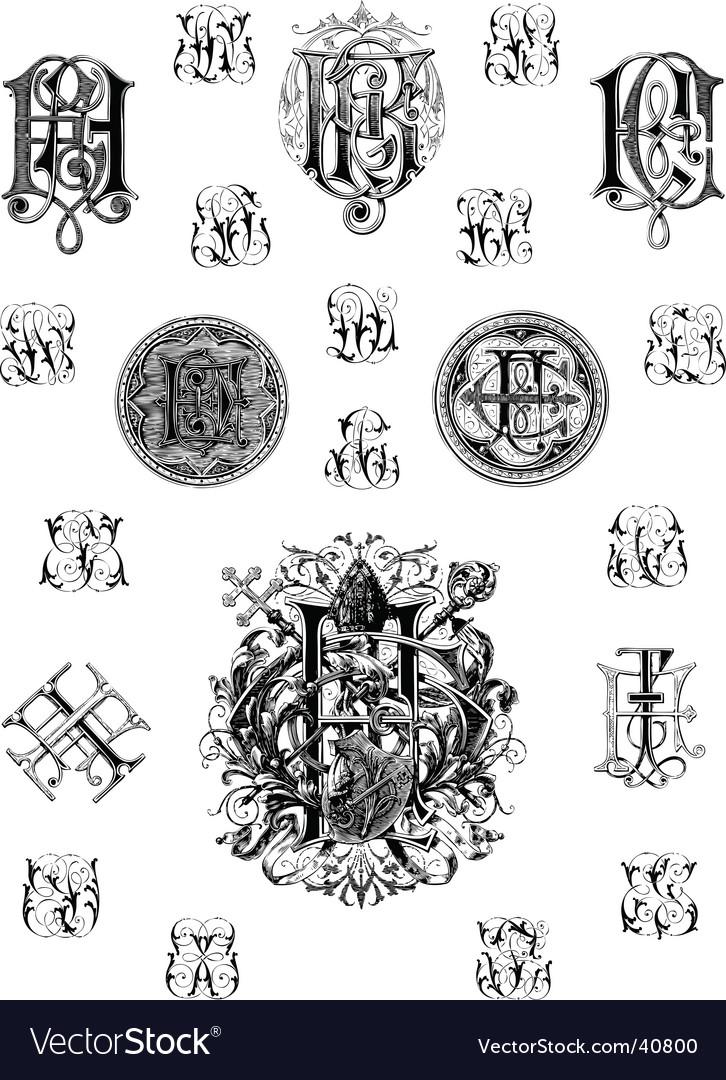 Vintage monogram set three vector image