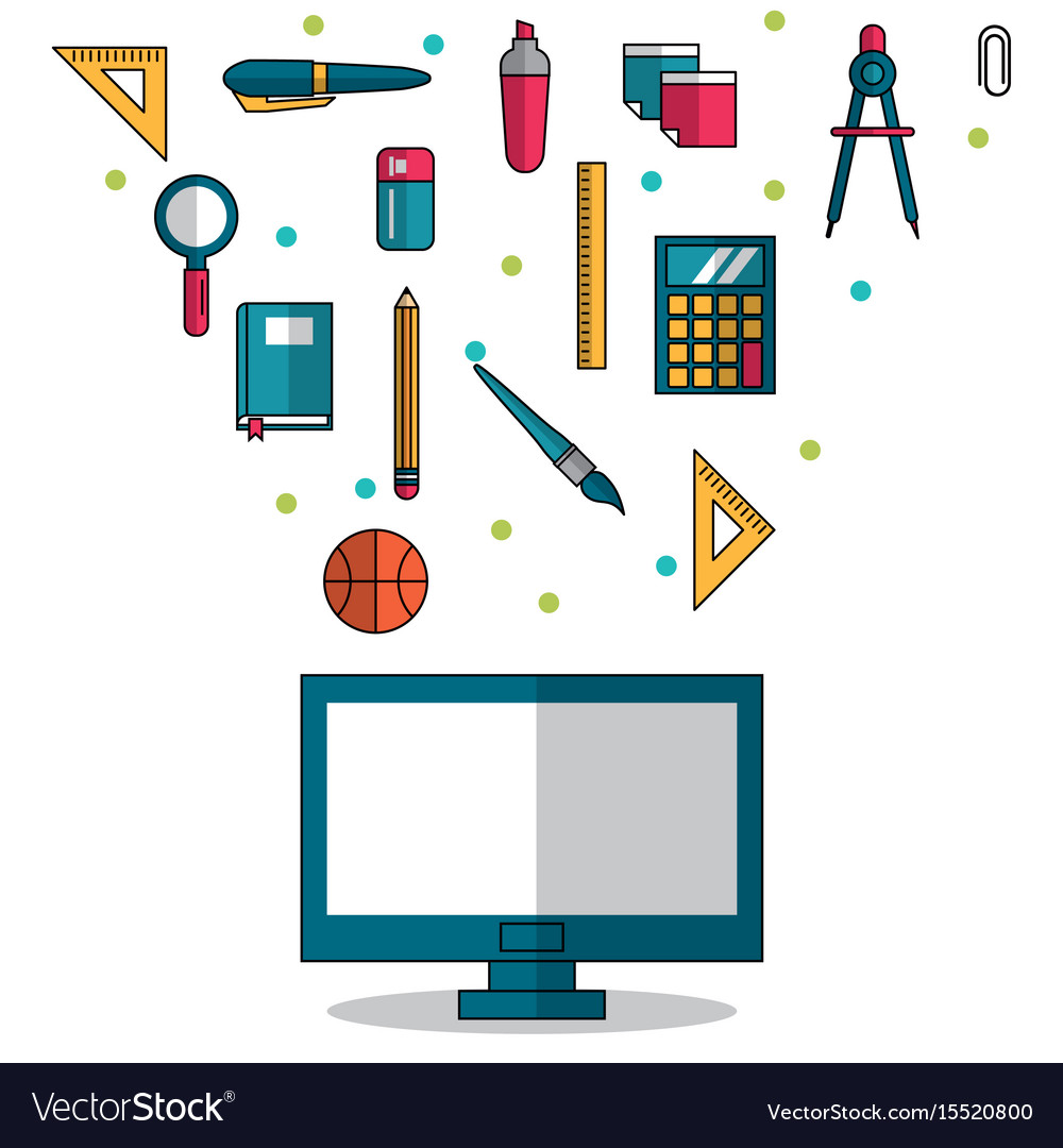 White background with computer in closeup and vector image