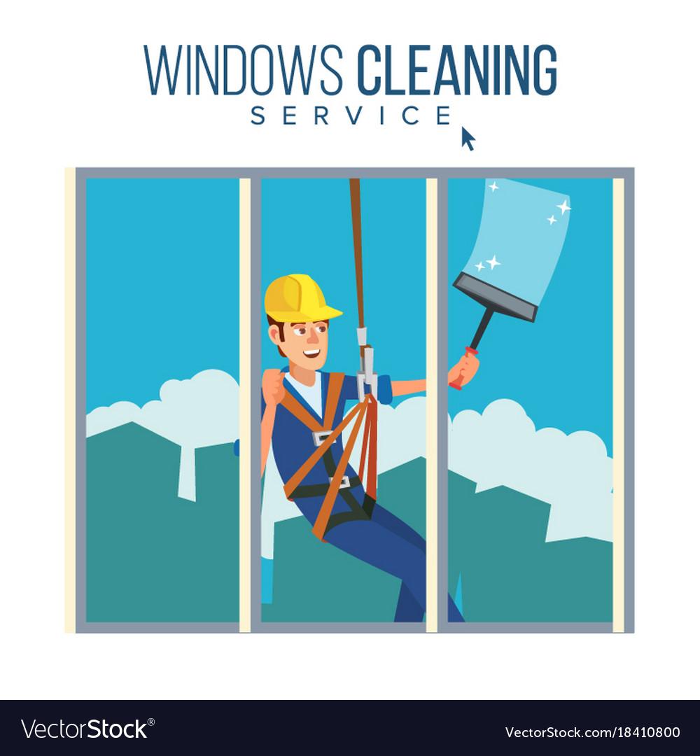 Window washer worker man cleaning window