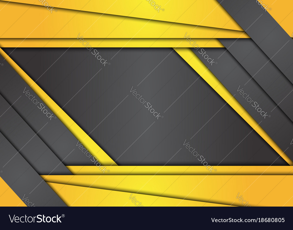 Black And Yellow Geometric Abstract Background Vector Image
