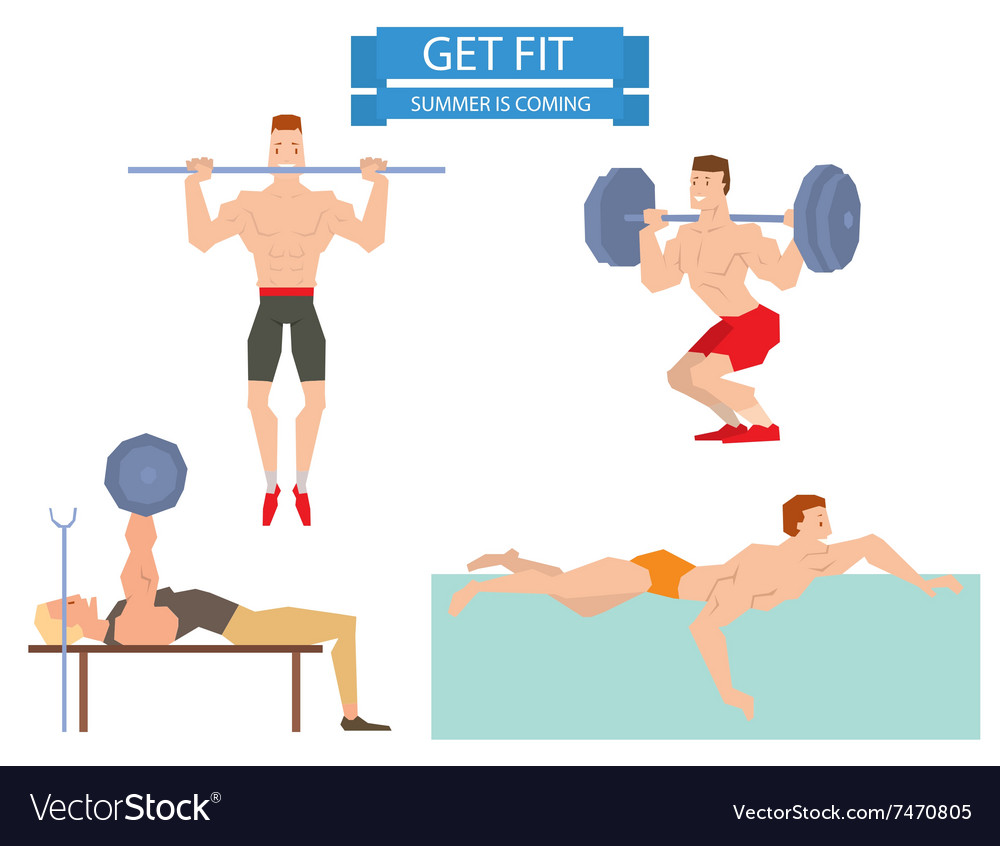 Cartoon sport gym people group exercise on fitness