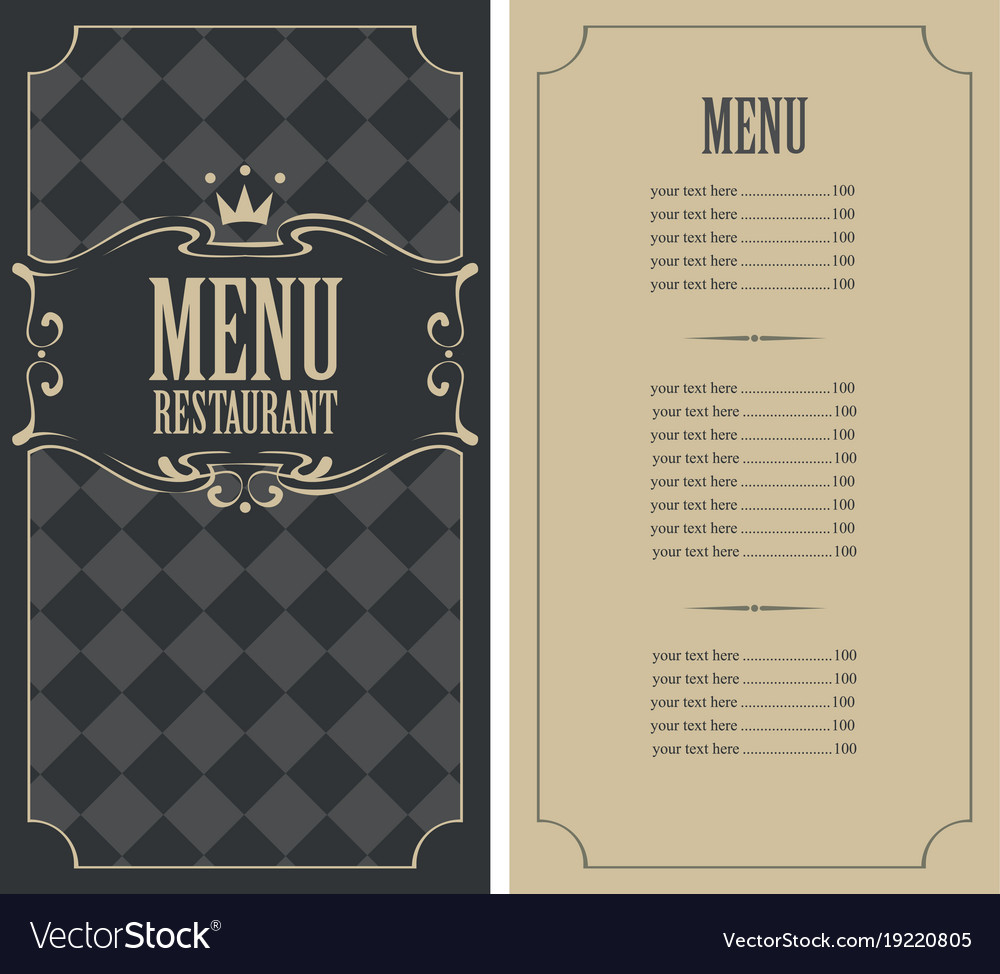 Checkered menu for restaurant with price and crown