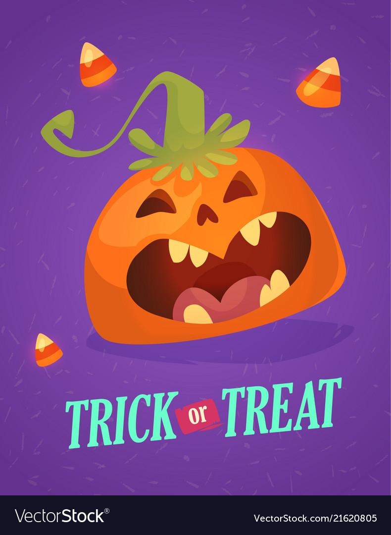 Happy halloween greeting card with cute pumpkin
