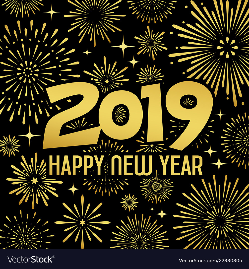 Happy new year 2019 message with firework gold