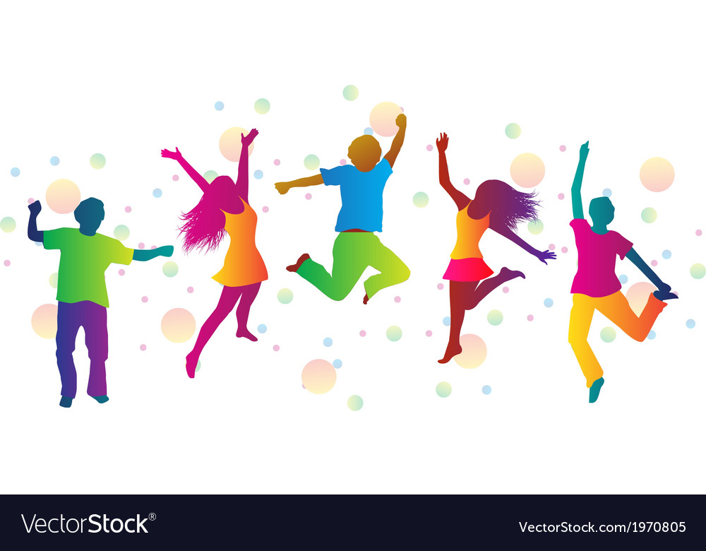 Jumping people and colored spots vector image
