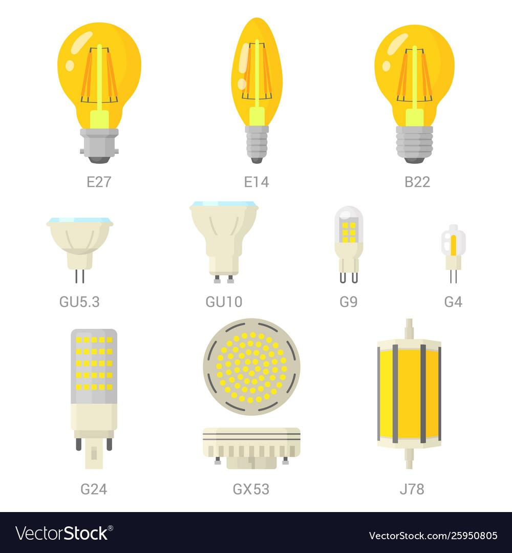Led light lamp bulbs colorful icon set