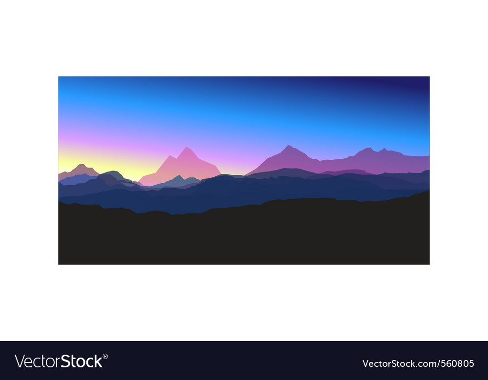 Mountains at sunset vector image