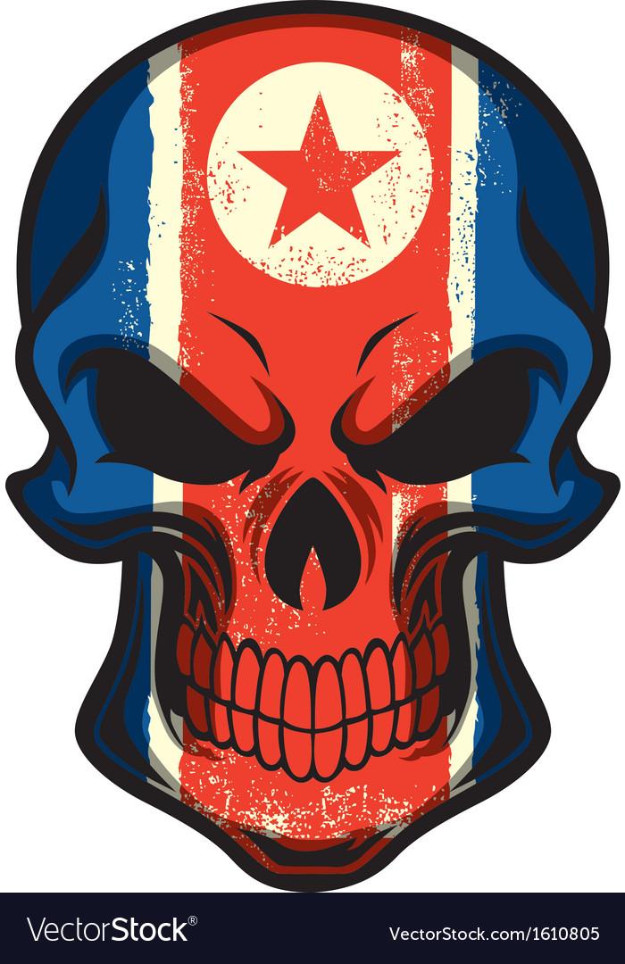 North Korea flag painted on skull