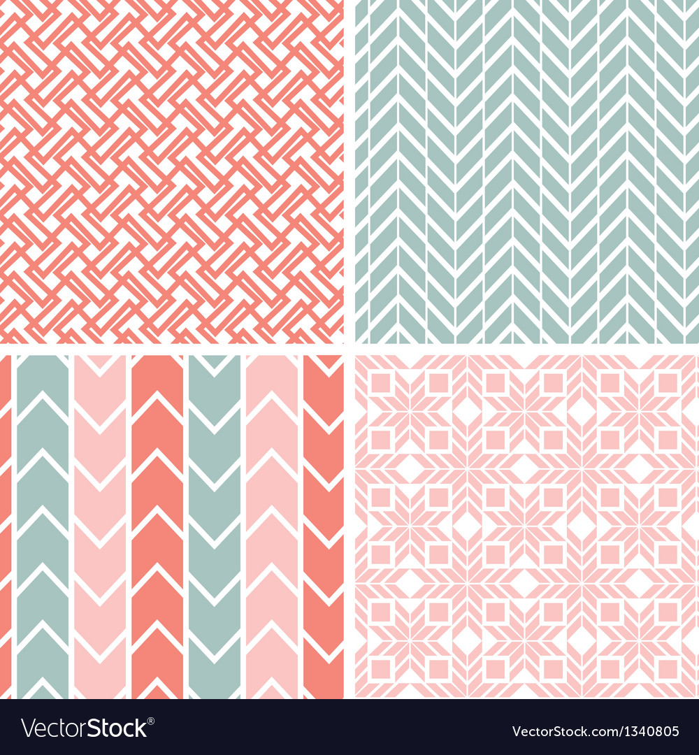 Set of four gray pink geometric patterns and