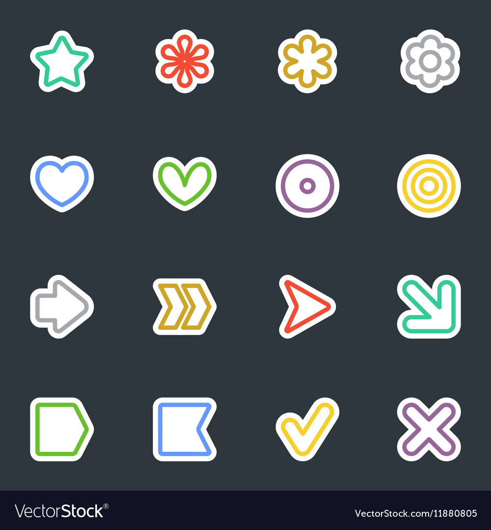 Simple contour style stickers icon set vector image