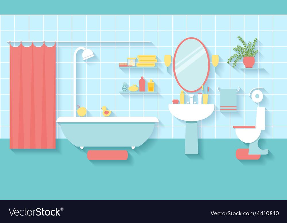 Bathroom interior in flat style