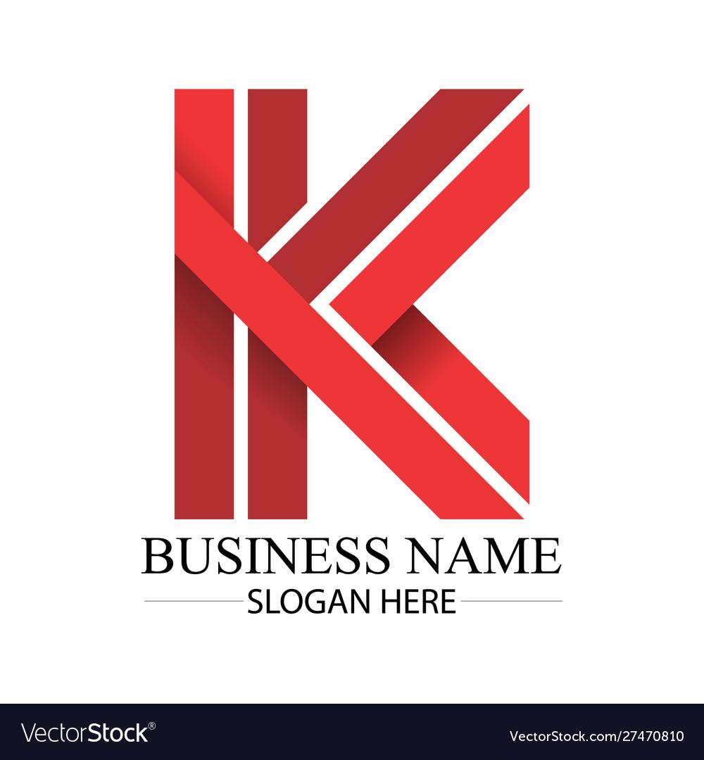 Business red k letter logo template