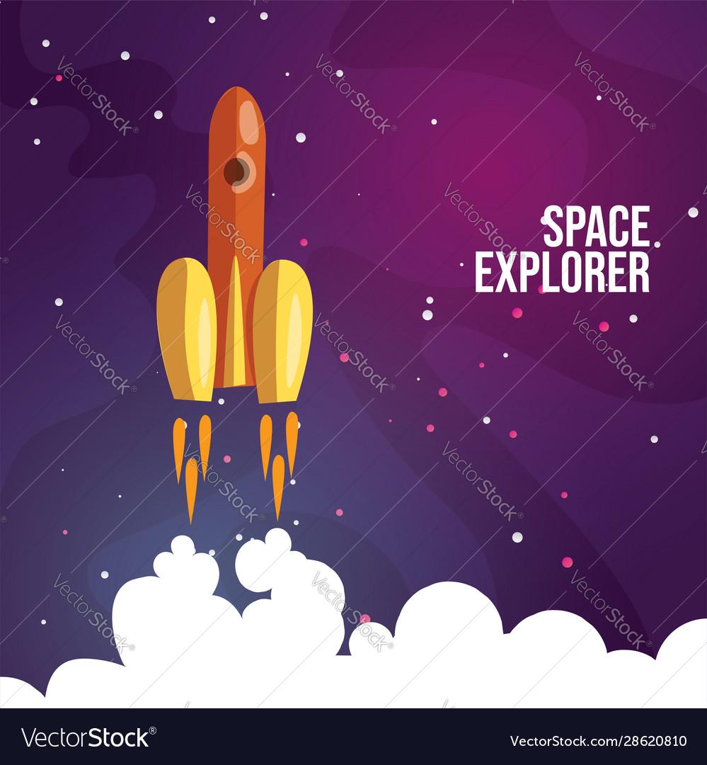 Cartoon launching rocket