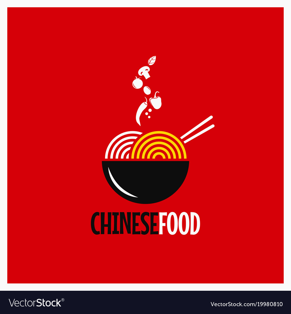 Chinese food logo chinese noodles or pasta on red