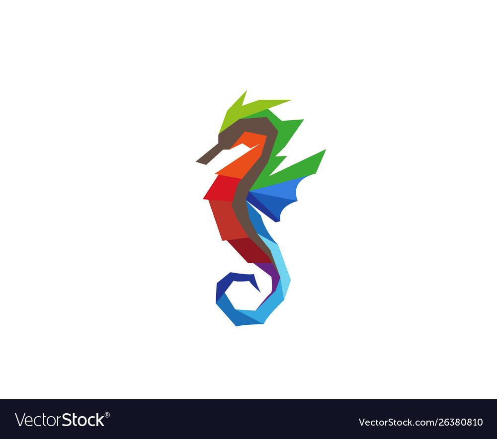 Creative colorful seahorse logo design symbol