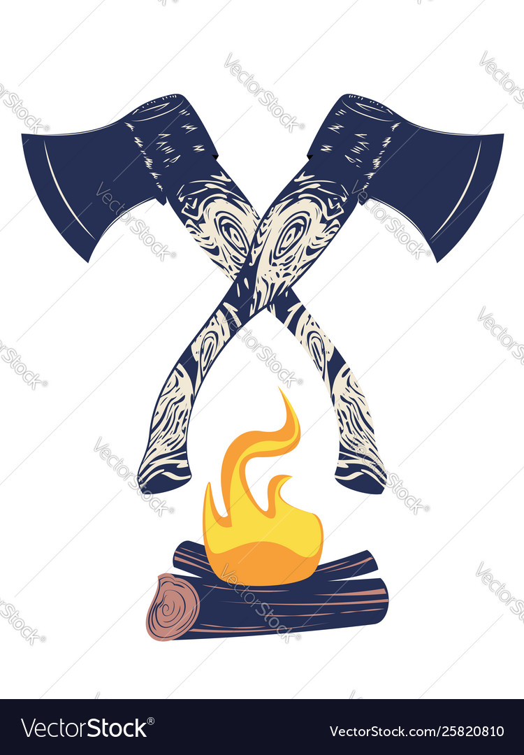 Crossed axes and campfire