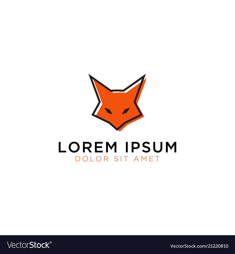 Fox head logo design template